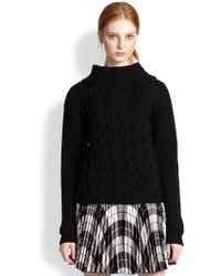 Milly Wool Cable-Knit Turtleneck Sweater - Lyst