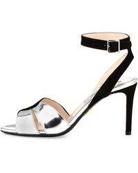 Prada Suede And Metallic Ankle-Wrap Sandal - Lyst