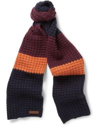 Burberry Striped Waffle-knit Wool and Cashmere-blend Scarf - Lyst
