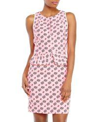 Sandro Printed Peplum Dress - Lyst
