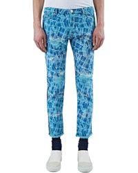 James Long - Men's Slim Cracked Print Jeans In Blue - Lyst