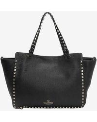 Valentino Rockstud Textured Leather Medium Tote Black - Lyst