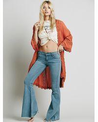 Free People Womens Lace Inset Long Kimono - Lyst
