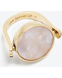 Ann Taylor Mother Of Pearl Swivel Ring gold - Lyst