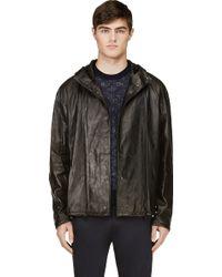 3.1 Phillip Lim Black Hooded Leather Jacket - Lyst