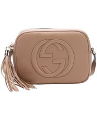 Gucci Camellia Leather Gg Embossed 'Disco' Shoulder Bag - Lyst