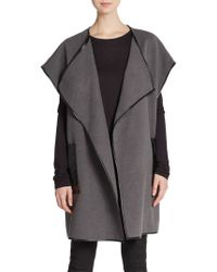 Saks Fifth Avenue Black Label - Faux Leather Accented Shawl Jacket - Lyst