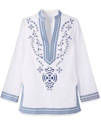 Tory Burch Embroidered Tunic white - Lyst