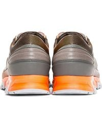 Lanvin Grey Leather Orange_trimmed Trainers - Lyst