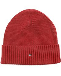 Tommy Hilfiger Red Cotton Cashmere Beanie - Lyst