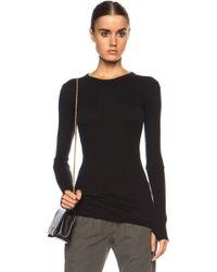 Enza Costa Cuffed Crew Cashmere-blend Sweater - Lyst