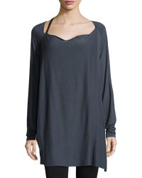 Donna Karan New York Long-Sleeve Asymmetric Drape Tunic - Lyst