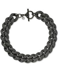 Michael Kors Blacktone Pavé Curb Chain Link Toggle Necklace - Lyst
