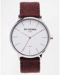 Ben Sherman Burgundy Colored Strap Watch Wb009P - Lyst