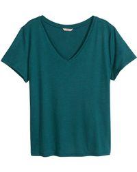 H&M Green Vneck Tshirt - Lyst