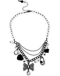 Betsey Johnson Blackplated Crystal Charm Frontal Necklace - Lyst