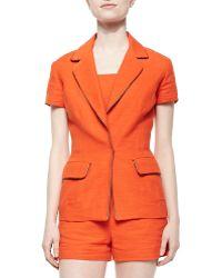 Tamara Mellon Short-Sleeve Linen Blazer Jacket - Lyst