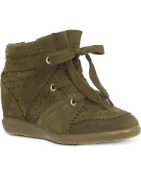 Isabel Marant Bobby Wedge Trainers Beige - Lyst