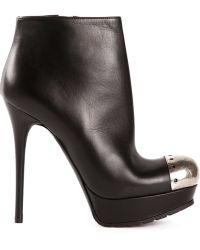 Alexander McQueen Brogue Toe Cap Booties - Lyst