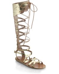 Ancient Greek Sandals - Odyssey Metallic Leather Gladiator Sandals - Lyst