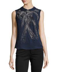 Carolina Herrera Collared Silk Top - Lyst