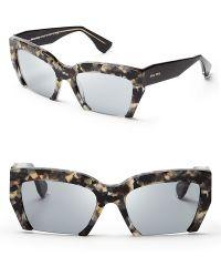 Miu Miu Semirimless Geometric Sunglasses - Lyst
