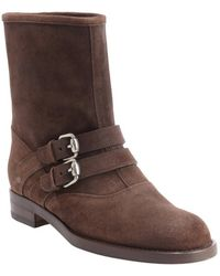 Gucci Cocoa Suede 'Margarett' Flat Boots - Lyst
