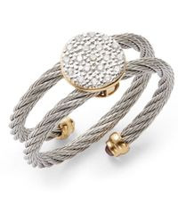 Charriol Diamond, Stainless Steel & 18K Yellow Gold Coil Ring gold - Lyst