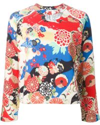 Carven Crane Bird Print Sweater - Lyst