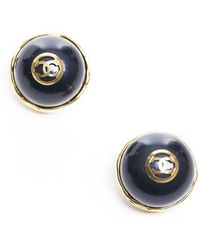 Chanel Stone Vintage Clip On Earrings - Lyst