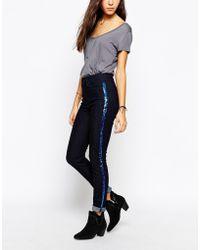 Lee Jeans Skyler Blue Rinse Skinny Jeans With Sequin Tuxedo Stripe - Lyst