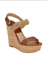 Michael Kors Amelia Chain And Leather Platform Wedge Sandals brown - Lyst