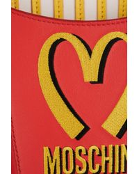 Moschino Embroidered Leather Shoulder Bag - Lyst
