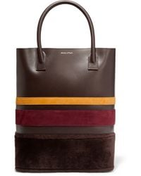 Mother Of Pearl - Pentley Faux Fur And Suede-trimmed Leather Tote - Lyst