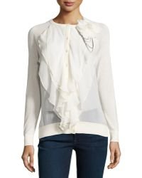 Haute Hippie | Multi-layer Ruffle-front Cardigan | Lyst