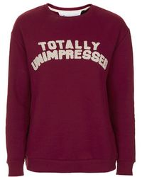 Topshop Totally Unimpressed Sweatshirt By Tee And Cake - Lyst