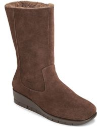 Aerosoles Plantation Suede Mid Shaft Boots - Lyst
