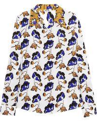 Miu Miu Floralprint Washedsilk Shirt - Lyst