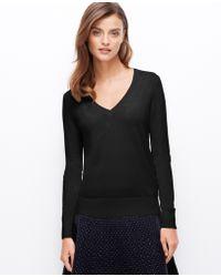 Ann Taylor Embellished V-neck Sweater - Lyst