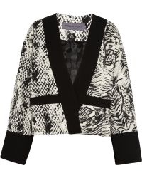 Emanuel Ungaro Animalprint Crepe Jersey and Satin Jacket - Lyst