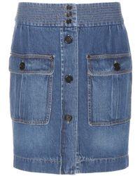 Chloé Denim Miniskirt blue - Lyst