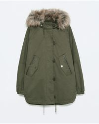 Zara Cotton Parka With Furry Hood green - Lyst