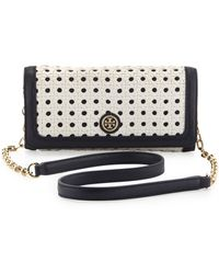 Tory Burch Robinson Basketweave Shoulder Bagclutch Whitenavy - Lyst