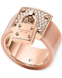 Michael Kors Rose Gold-Tone Padlock Ring - Lyst
