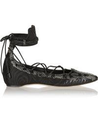 Daniele Michetti - Musa Satin, Leather And Elaphe Point-toe Flats - Lyst