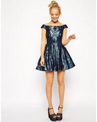 Asos Off Shoulder Jewel Jacquard Bardot Prom Dress - Lyst