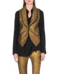 Ann Demeulemeester Metallic Sleeveless Wool-blend Coat - Lyst
