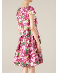 Oscar de la Renta Layered Floral Print Dress - Lyst