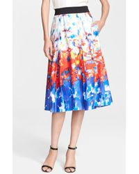 Milly 'Katie' Watercolor Print Pleated Midi Skirt - Lyst