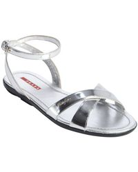 Prada Silver Leather Anklestrap Sandals - Lyst